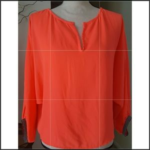 🌺Blue Rain for Francesca's🌺V-neck Orange Blouse.